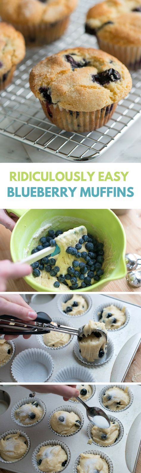 You only need one bowl to make this easy blueberry muffin recipe on inspiredtaste.net with blueberries, flour, sugar, vanilla, and vegetable oil.