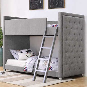 Silhouette Upholstered Bunk Bed Grey Bunk Beds Bed Headboard