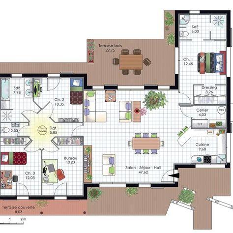 Plan maison traditionnelle plain pied 116 m² 4 chambres Casas