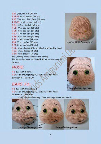 Boneca amigurumi...tutorial para iniciantes...créditos :Prasapporn ... | 604x427