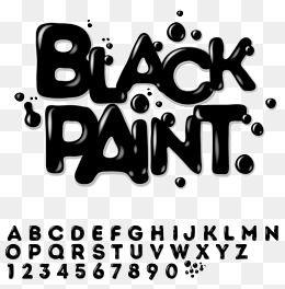 Black Paint Font Design Vector Material Black Paint Font Digital