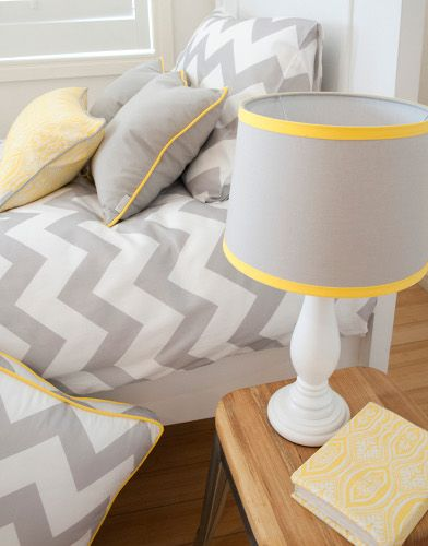 Grey and yellow, lovely and crisp. Kate Lauren Designs Zachary Hunter duvet and pillows
