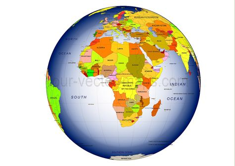 Colored Asia centered Globe map, country name, Ocean name Globe - copy world map pdf file
