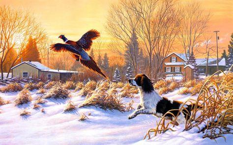 #Winter #Snow #Bird #Hunt #Art #Painting #Windows8 #Wallpaper ~ #landscape #dog #nature