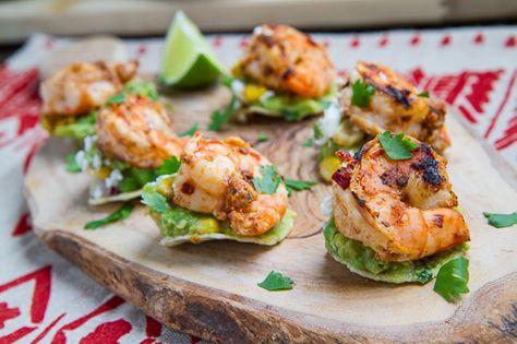 Chipotle Lime Grilled Shrimp and Corn Guacamole Mini Tostadas