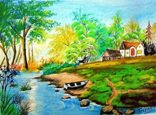 How To Draw Landscape Scenery Of Beautiful Nature Step By Step In 2020 Easy Landscape Paintings Landscape Drawings Fancy Art