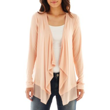 a.n.a® Long-Sleeve Chiffon-Trim Cardigan - Petite found at ...