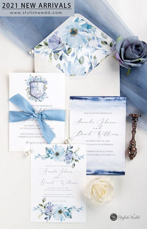 """Light shades and moody hues come together in the french blue and periwinkle flroal shield wedding invitation. This color palette is sure to WOW! """" #wedding#weddinginvitations#stylishwedd#stylishweddinvitations #vellumweddinginvitations#weddingideas"""