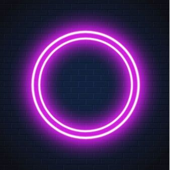 Neon Purple Circle Frame Sign Brick Wall Red Background Images Neon Wallpaper Iphone Neon