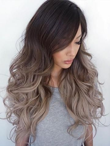 Tape In Grey Ombre Balayage Human Hair Extensions Dark Brown