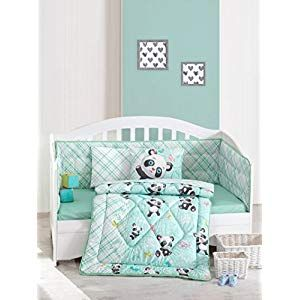 6 Pieces Mint 100/% Cotton Made Panda Deluxe Crib Bedding Baby Quilt Set