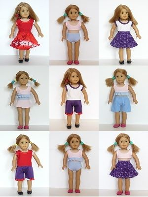 """18"""" American Girl doll clothes sewing patterns - SUMMER SET"""