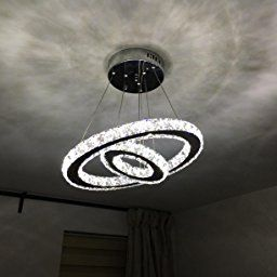 Alfred Luxury Modern Crystal Led Pendant With Unique Two Rings Modern Home Ceiling Light Fix Pendant Lights Chandeliers Ceiling Light Fixtures Home Ceiling