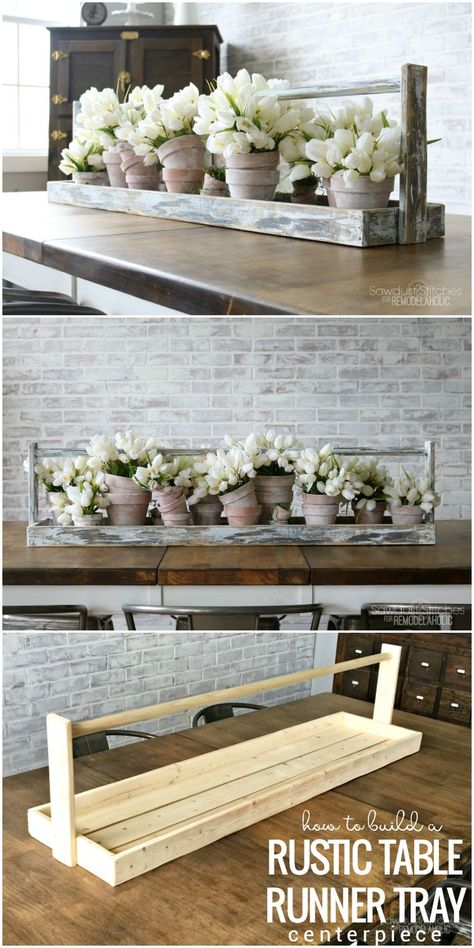 DIY Long Table Runner Tray for a Centerpiece is part of Wood crafts diy - This extra long rustic table runner tray makes the perfect centerpiece for a dining table, buffet, or console Fill it with flowers, books, and other decor Table En Bois Diy, Rustic Table Runners, Diy Casa, Creation Deco, Diy Wood Projects, Small Wooden Projects, Carpentry Projects, Wooden Tables, Diy Woodworking