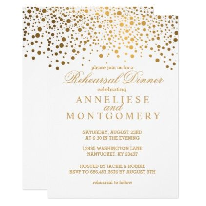 White And Gold Confetti Rehearsal Dinner Invitation Zazzle Com Rehearsal Dinner Invitations Romantic Wedding Gifts Wedding Gift Diy
