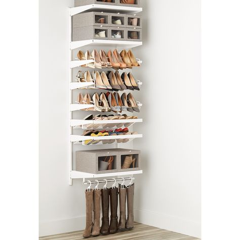 NEW Elfa Closet, Closet Rod, Closet Shelves, Walk In Closet, Tiny Closet, Shoe Storage For Closet, Understairs Shoe Storage, Shoe Storage Design, Apartment Closet Organization