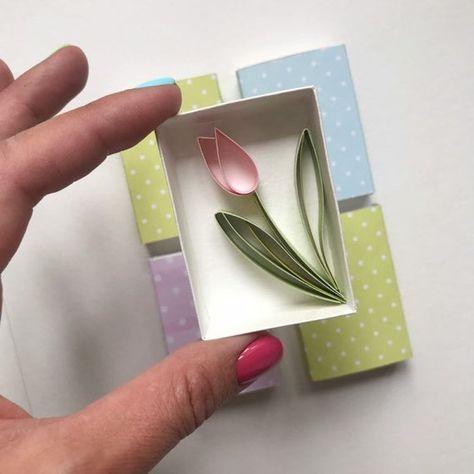 Tarjeta de caja de fósforo de tulipán Quilled Tarjeta de image 1