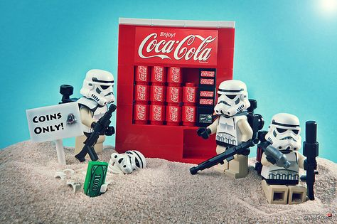 Do you have coins? #LEGO    Love it! Coke, Lego and Star Wars!