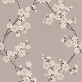 Graham Brown Chelsea 56 Sq Ft Taupe Charcoal Vinyl Textured Floral Wallpaper Lowes Com Cherry Blossom Wallpaper Floral Wallpaper Wallpaper Decor