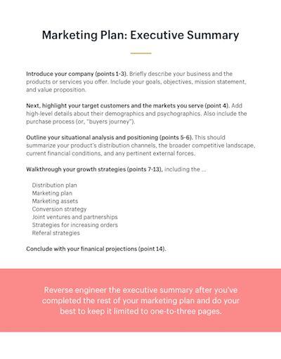 How To Write A Marketing Plan Executive Summary Marketing Plan Template Marketing Plan Ecommerce Marketing