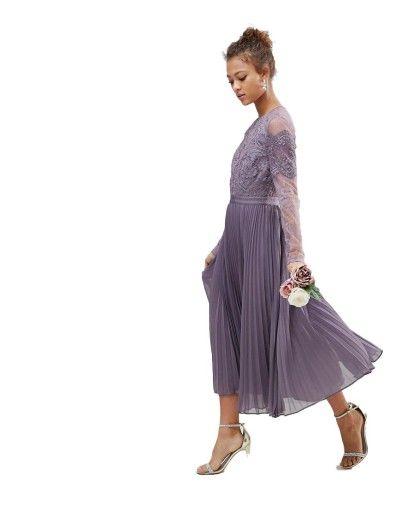 Sukienka Koronka Plisowana Midi 3xl 46 7171924927 Oficjalne Archiwum Allegro Midi Bridesmaid Dress Midi Ruffle Dress Pleated Midi Dress