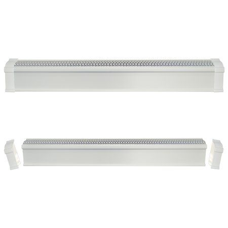 Baseboard Heat Covers Complete Set 2 Feet White Includes Right And Left End Caps Hot Water Hydronic Heater Baseboard Cover Enclosure Replacement Kit For Baseboard Heating Baseboards Hot Water