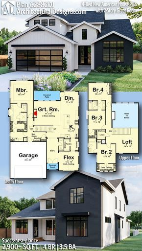 Plan 62882dj 4 Bed New American House Plan With 2 Story Great Room American House Plans Sims House Plans House Layout Plans American house floor plan