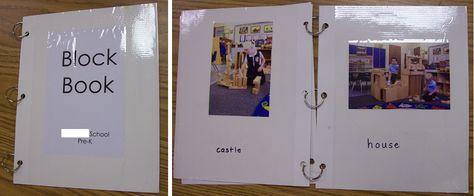 Block center. Voeg bouwkaarten of een bouwboek toe aan de bouwhoek (of  hang ze op) met leuke foto's of plaatjes van verschillende bouwideeën of activiteiten om te doen. (Add build card or book to block area)