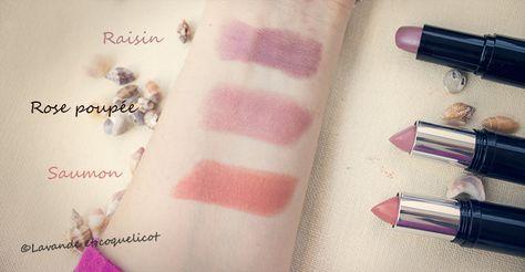 swatch rouge à lèvre avril raisin, rose poupée et saumon