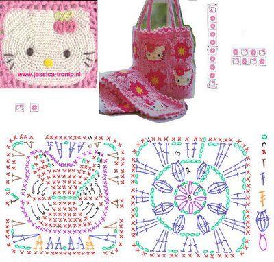 Hello Kitty Granny Square crochet ☀CQ #crochet. Thanks so much for sharing! ¯\_(ツ)_/¯