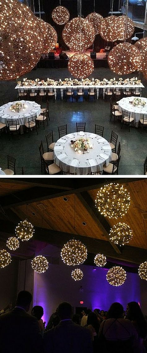 Creative hanging wedding decor lights: great idea for a rustic theme, hanging wicker balls or globes, love how the lights add charm & character to indoor & outdoor decor. Wedding artisan at The Perfect Match Wedding Library, Naples, FL. Click here to discover more amazing lighting ideas: http://theperfectmatchstudio.com/wedding-lighting/