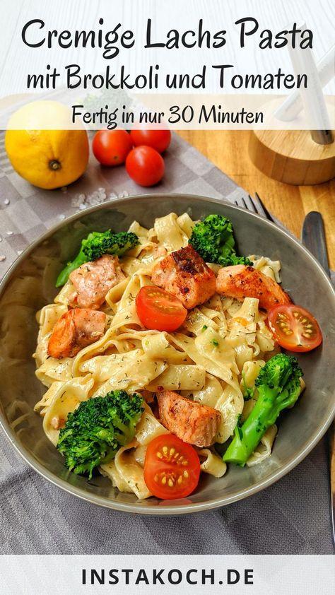 Cremige Lachs Pasta mit Brokkoli