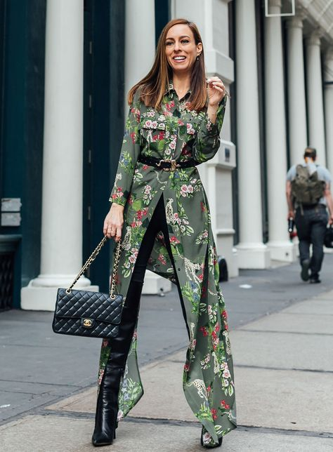 Sydne Style shows how to wear a shirtdress with jeans in l'agence at fashion week #florals #leopard #prints #green #shirtdress #maxidress #boots #chanelbag @sydnesummer