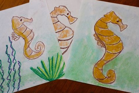 Seahorse Chalk Pastel Tutorial-guest post for Sketch Tuesday assignment this week is from Tricia Hodges and Nana with a seahorse art project, including a video tutorial! Make your seahorse and send it in for the Sketch Tuesday slideshow next week!!!