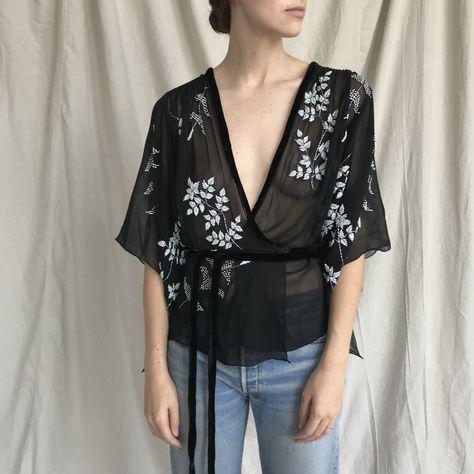 f69728a3 Vintage black sheer silk kimono style wrap blouse with white - Depop