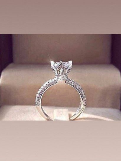 خاتم فضة عيار 925 سيلفر سوليتير بخصم 15 عدد محدود Jewelry Jewelrymaking Love Women Silver Goldjewellery Engagement Rings Diamond Ring Rings