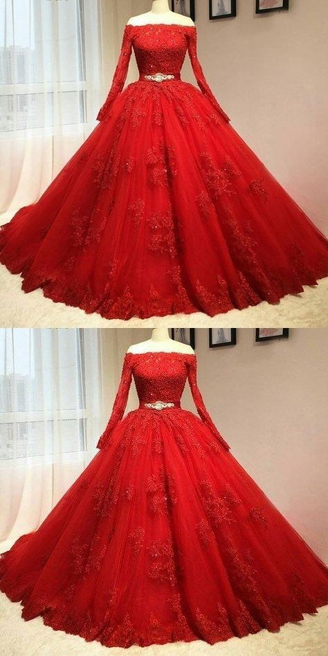 Red Ball Gown Quinceanera Dresses Prom Dress Long Prom Dresses