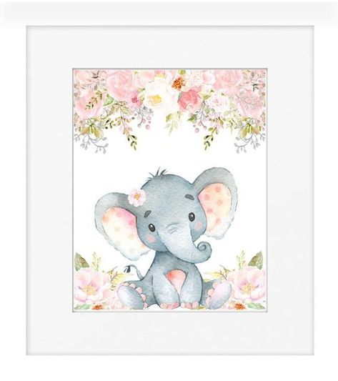Elephant Pink Gray Nursery Decor - Pink and Gray Baby Girl Nursery Print - Instant Download - Baby S
