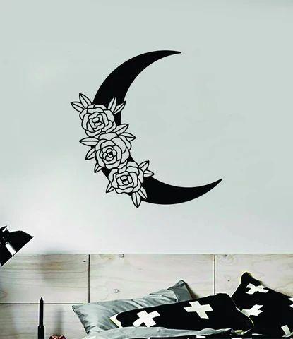 Moon Roses Wall Decal Sticker Vinyl Art Wall Bedroom Room Home Decor T – boop decals
