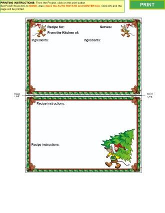 Winter Collection 2 - Recipe Card Templates for MS WORD or Acrobat - free christmas word templates