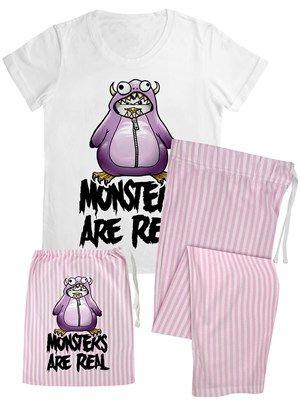 Psycho Penguin Cute But Psycho Women/'s White Long Pyjama Set In A Bag
