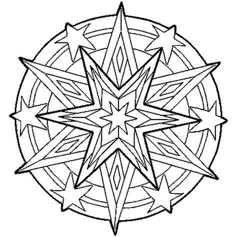 Coloriage Etoile Coeur.Le Dessin Du Mandala Represente Une Etoile Colorie Le Coeur