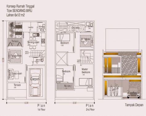 desain rumah 2 lantai ukuran 6 x 14   denah rumah, desain