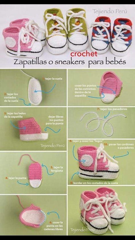 Sepatu Baby Converse En Crochet Sandales Pour Bebe Au Crochet Crochet De Vetement De Bebe