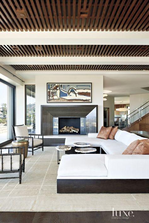 deckengestaltung wohnzimmer grau kamin kasettendecke holz Wohnen - Ideen Fur Deckengestaltung