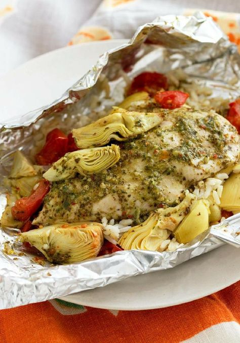 Foil-Pack Chicken  Artichoke Dinner – This low-cal chicken and artichoke dish also boasts easy cleanup—a win-win-win!