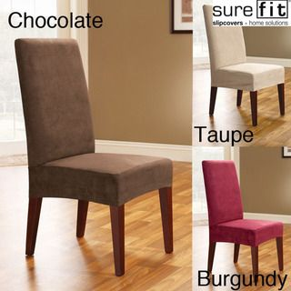 Overstock 2 For 20 Suede Chocolate Taupe Or BurgundySmooth Shorty Dining Room Chair Covers