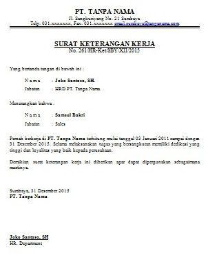 Contoh Surat Keterangan Kerja Karyawan Surat Kerja Tanda