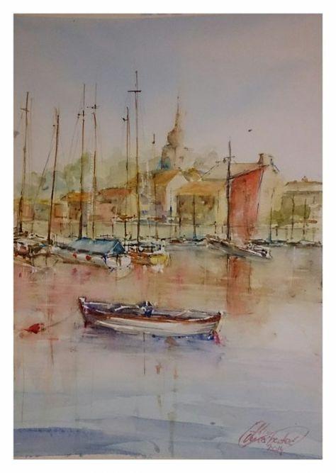 Aquarelle A Boat In Marine Author Eldin Omerhodzic Zagreb