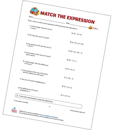 Match The Expression Free Printable Numerical Expression Kids Worksheets Printables Worksheets Numerical expressions worksheets